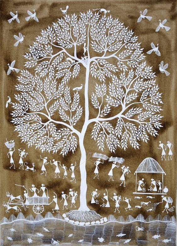 Warli folk painting from India Contemporary Warli, tribal | warli warli painting, how to warli , indian warli painting, warli painting idea, how to make warli painting, indian arts, #warli #warlipainting