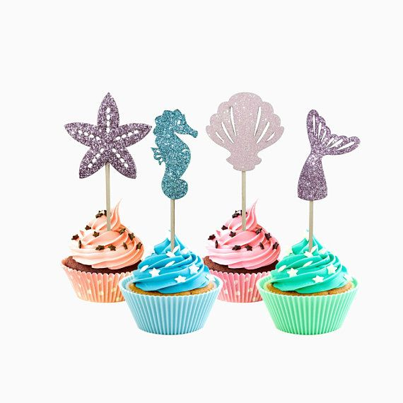 Blue Mermaid Tail Cupcake Toppers Kids Theme Party... Set of 24 Glitter Purple