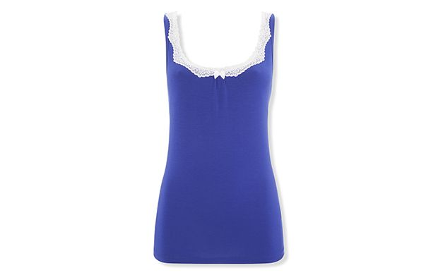 """Lace Trim Vest. """"The contrast of white lace trim against this blue camisole is an eye-catching combination."""""""