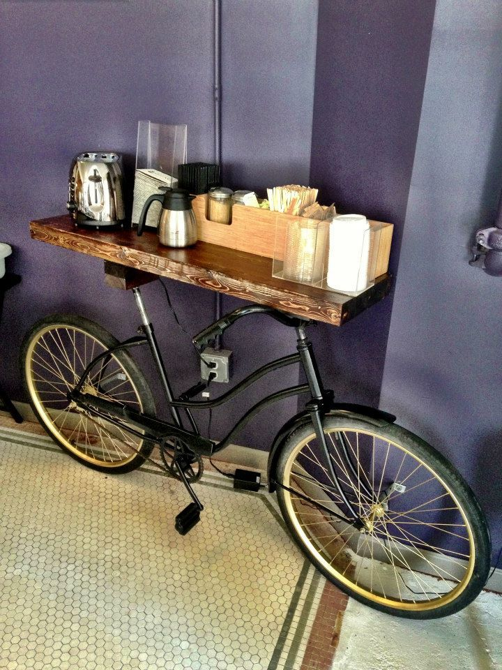 Bike Bar: Counter-top cream & sugar bar I built for our new coffee shop.