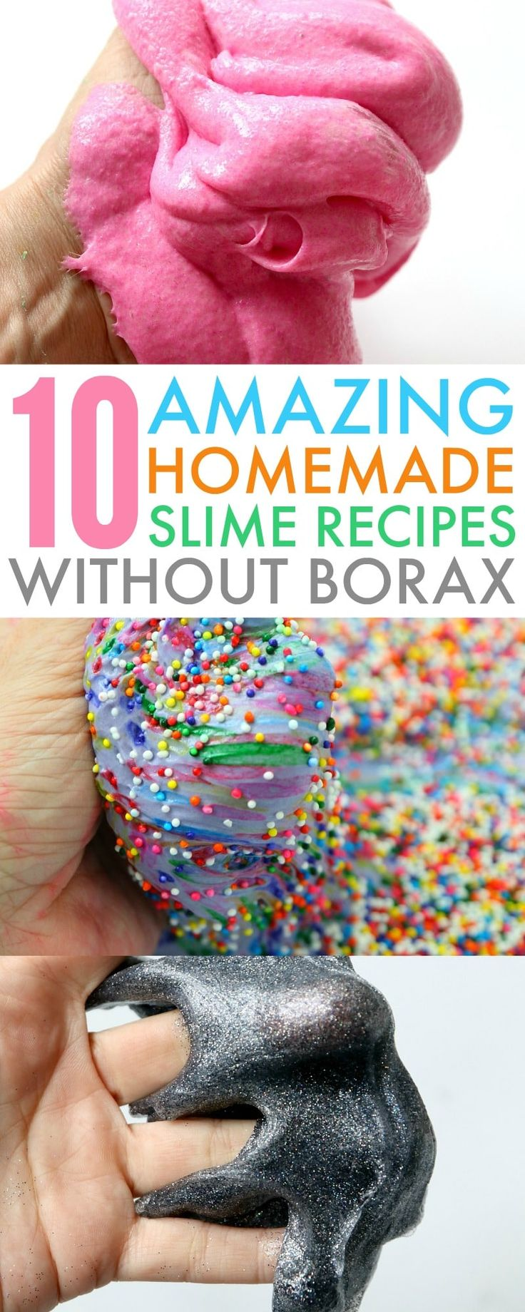 Learn how to make a Homemade Slime Recipe Without Borax with 10 amazing ideas including fluffy slime, unicorn poop slime, glow-in-the-dark slime & more! https://www.730sagestreet.com/homemade-slime-recipe-without-borax/