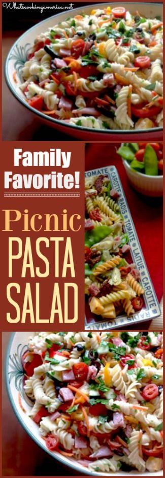 Picnic Pasta Salad Recipe  |  whatscookingamerica.net  |  #picnic #pasta #salad