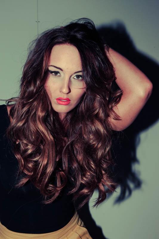 rich brown hair color / long hair / auburn hair / curly hair / wavy hair / orange lipstick / bright lips / makeup /
