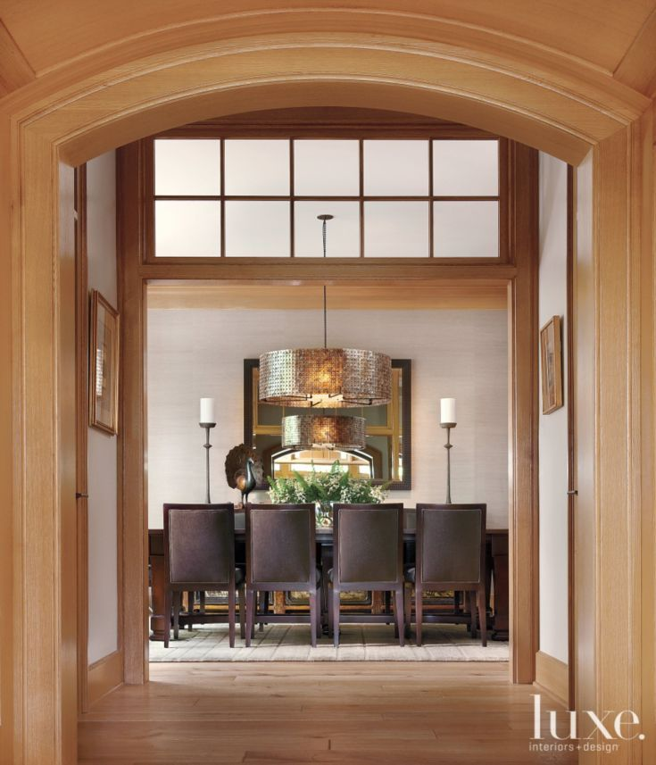 Traditional neutral dining room with barrel light fixture for Traditional dining room light fixtures