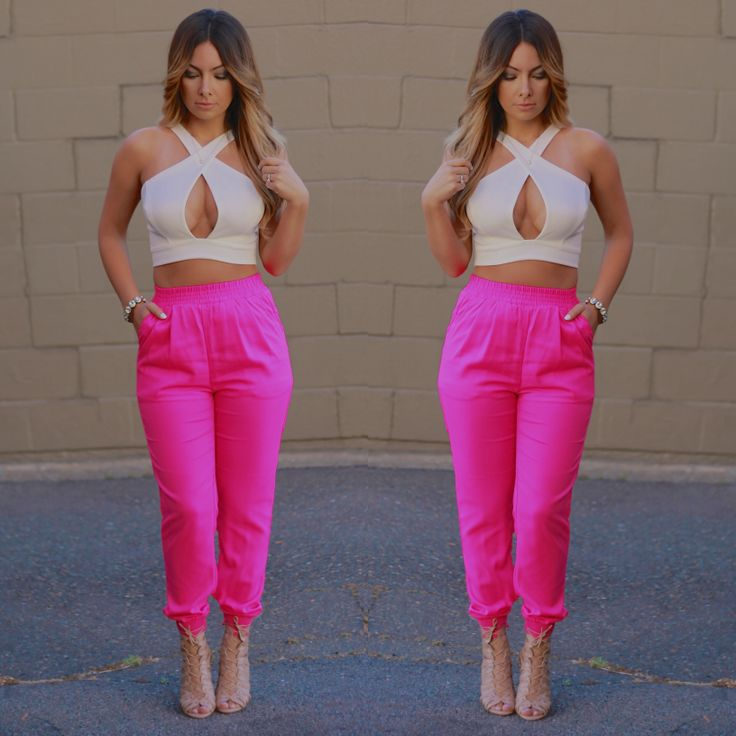 Hot outfit, crop top, joggers, neons, party outfit , nightout , birthday outfit