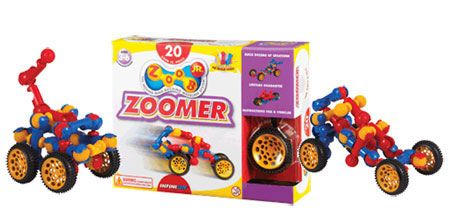 ZOOB JR. Zoomer Car Set and thousands more of the very best toys at Fat Brain Toys. This set combines two concepts: ZOOB Jr. and cars! There are 4 oversized wheels and tires, 20 large ZOOB Jr. pieces, a sturdy