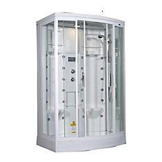 56 Inch x 37 Inch x 85 Inch Steam Shower Enclosure Kit with 24 Body Jets in White with Left Hand #SteamShowerEnclosure