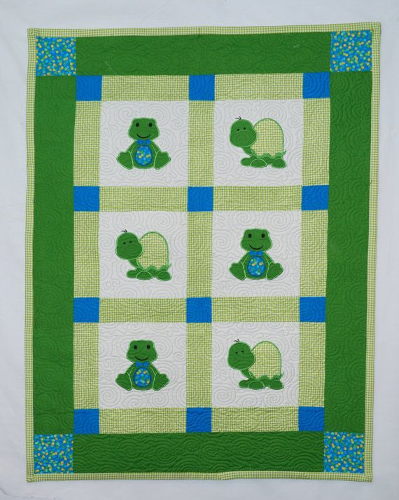 Baby Quilt with Applique Frogs and Turtles baby shower Pinterest Frogs, Turtle and Babies