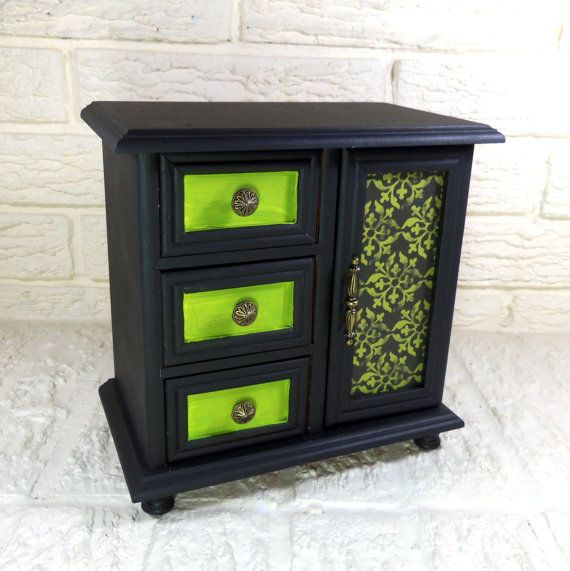 Black Gothic with Lime Green Accents Medium Sized Chest by poelia, $64.00