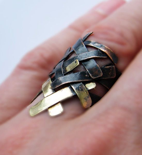 Rings – Braiding.handcrafted copper and brass ring – a unique product by LydiaRED on DaWanda