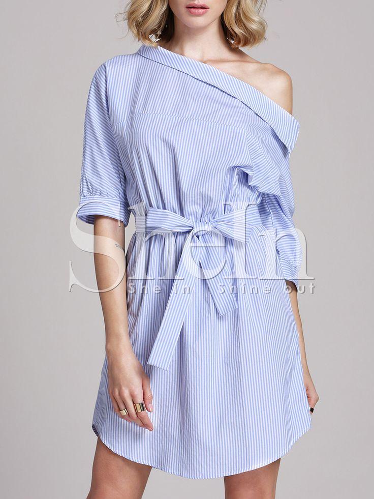 Blue Periwinkle Shouldered Half Sleeve Off The Shoulder Striped Dress $17.59