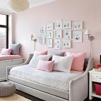 Heather Gray and Pink Nursery with Devyn Tufted Upholstered Daybed with Trundle