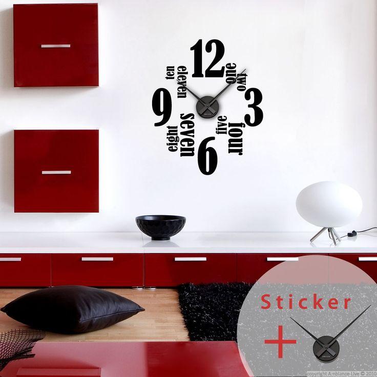 Sticker horloge Anglais et chiffres 12, 3, 6 et 9 - sticker STICKERS ORIGINAUX Stickers Horloges - Ambiance-sticker
