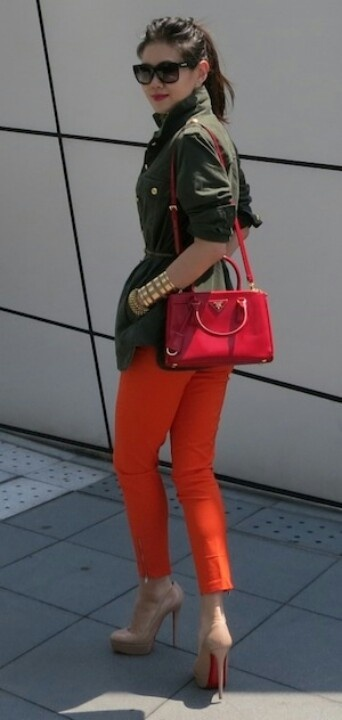 safari shirt, orange skinnys and red pop bag