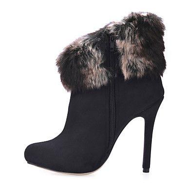 camoscio alla caviglia stivali tacco a spillo con il partito di pelliccia / sera scarpe - EUR € 49.49