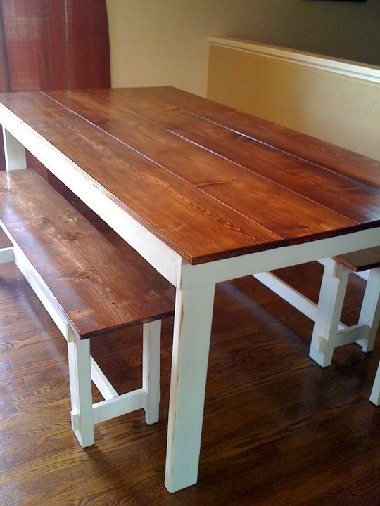 a beautiful easy to build table that features a 1x top simple legs this kitchen table with benchtable - Kitchen Table Bench