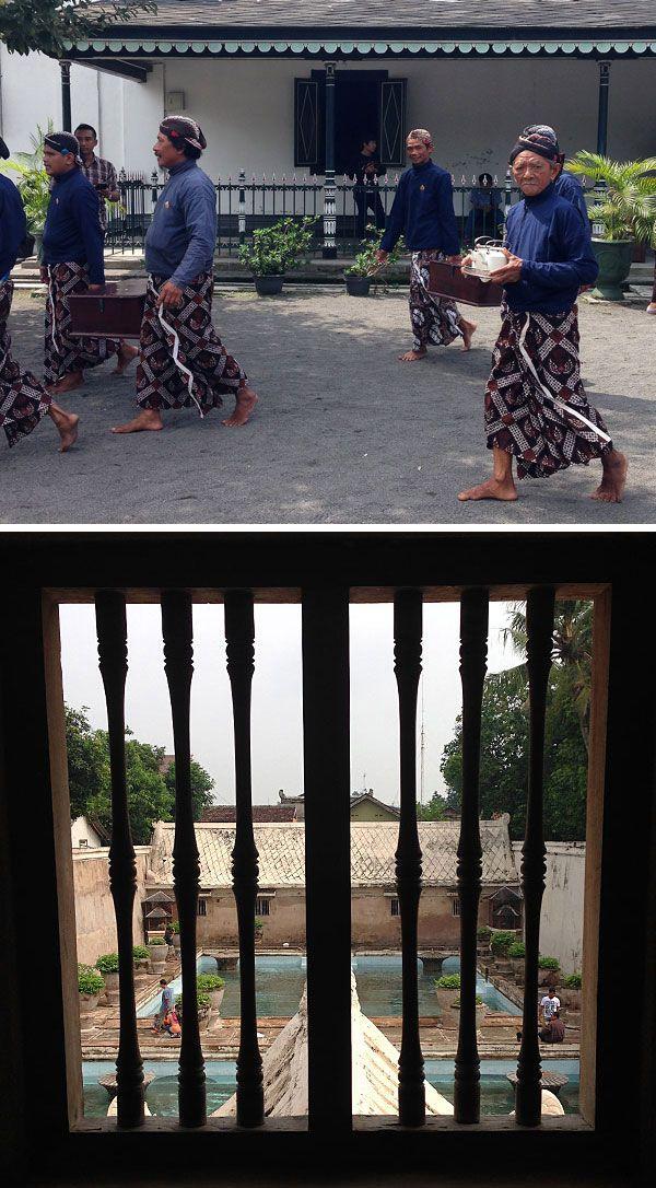 Sultan's staff wearing batik and tenun in Yogyakarta, Indonesia.