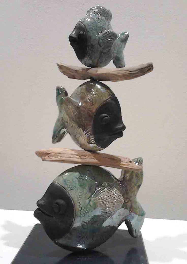 3 poissons en brochette, raku