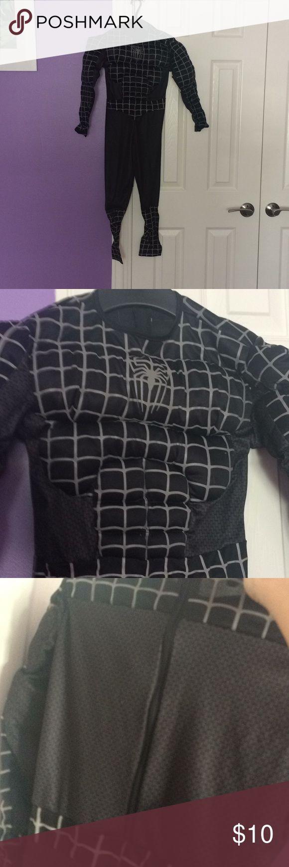 boys black Spiderman Halloween costume boys black Halloween Spiderman costume with fake muscles size 8 Costumes Superhero
