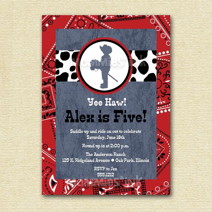 Little Cowboy Bandana Birthday Party Invitation - PRINTABLE INVITATION DESIGN by MommiesInk on Etsy https://www.etsy.com/listing/69216854/little-cowboy-bandana-birthday-party