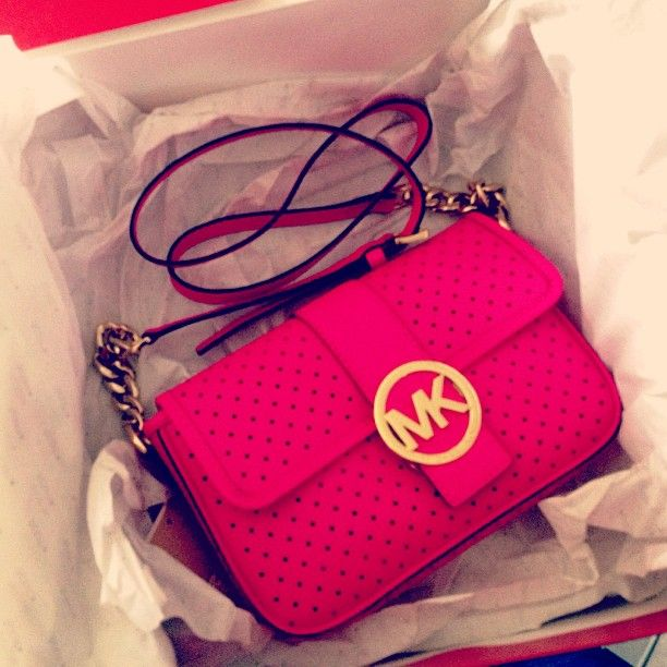 Hot Pink Michael Kors Bag with Gold Chain