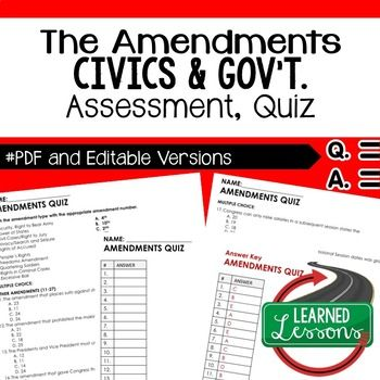Constitutional Amendments Quiz, Civics Assessment, PDF and Editable Version ➤Civics Quiz, Civic Assessment, Civics Test, Goes with Civics Mega Bundle Resources Also part of CIVICS and GOVERNMENT MEGA BUNDLE