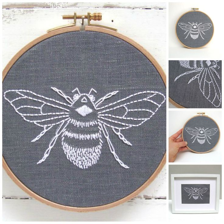 Diy embroidery hoop art kit stitch your way to bliss with this bumblebee embroidery kit