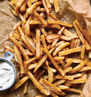 Gwyneth Paltrows No-Fry Fries, just cut up your potatoes and place them in a bowl of cold water, then dry them off and toss them with olive oil, place them on a cookie sheet and sprinkle with sea salt, then bake at 450 for about 25 minutes, turning occasionally.