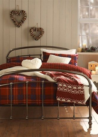 Cosy red and blue tartan Flannelette Bedding Set from Matalan
