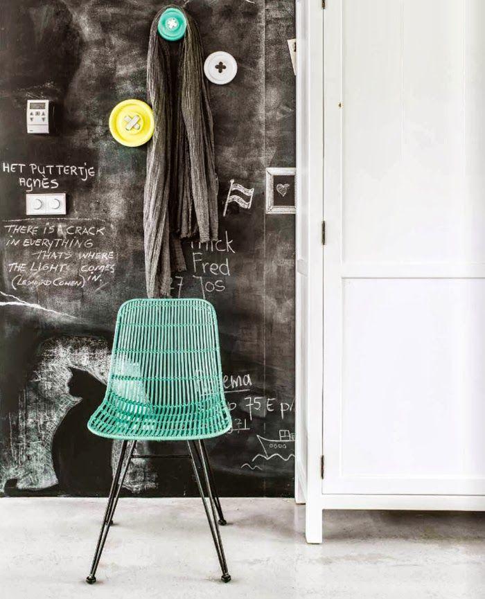 blue chair + chalkboard wall + button hangers