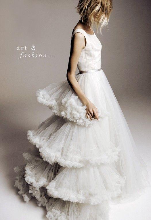 Pale grey wedding gown