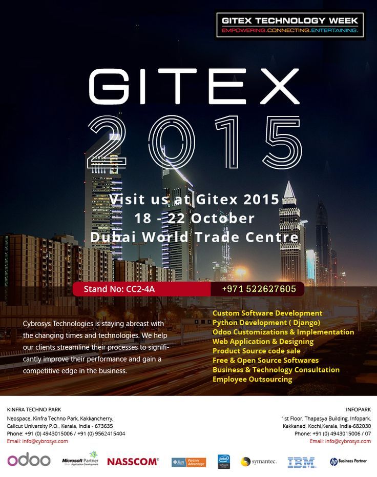 """GITEX (""""Gulf Information Technology Exhibition""""). Dubai is in GITEX fever... More than 100000 visitors and 3000 exhibitors from around the world. GITEX technology week is being held from 18th October to the 22nd October 2015.  Find us at Stand No CC 2 - 4 A."""