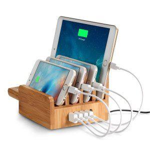 Merit 香り竹製充電スタンド 5ポート急速充電器内蔵 iphone iwatch iPad対応 Nexus Xperia Galaxyスマホ·タブレット対応 2in1携帯充電用 机スッキリになる収納グッズ 5個USBポート同時充電