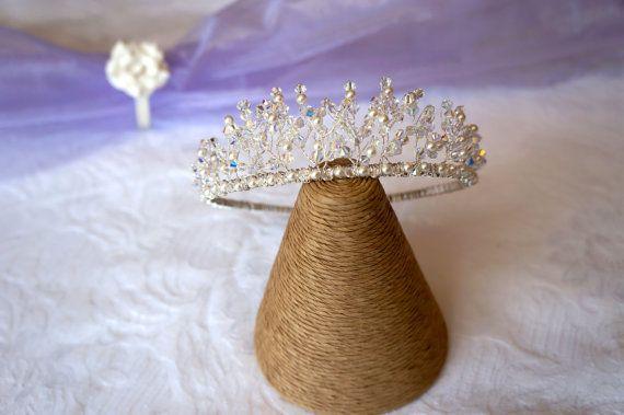 Tiara  Handmade Swarovski Crystal & by Makewithlovecrafts on Etsy, £65.00