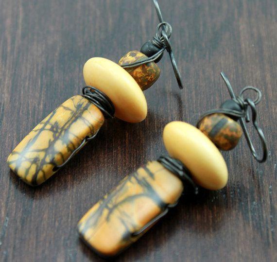 Rustic Boho Totem Jasper Gemstone Earrings by ChrisKaitlynJewelry