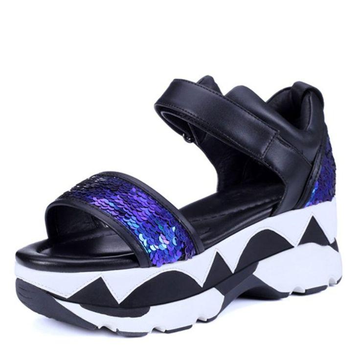 2016 sommer Mode Sexy glitter rindsleder Pailletten Tuch Thck High Heels Schuhe frauen bling party hochzeit dicken sohlen dame sandalen //Price: $US $57.82 & FREE Shipping //     #clknetwork