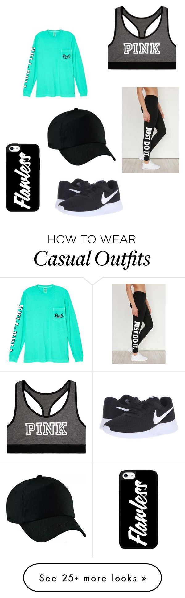 """The casualness is unreal."" by mabrey26 on Polyvore featuring NIKE and Victoria's Secret"
