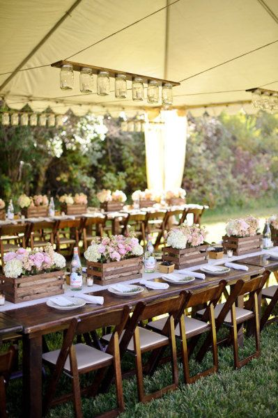 A Country Girls Wedding Inspirations: Outdoor Wedding, Ideas, Centerpieces, Mason Jars Lights, Wooden Crates, Mason Jars Chandeliers, Long Tables, Mason Jar Chandelier, Flower Boxes