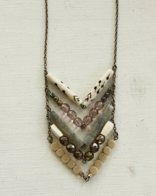 Boho necklace, would work nicely with a very bright colored top, such as a marine blue knit tunic.
