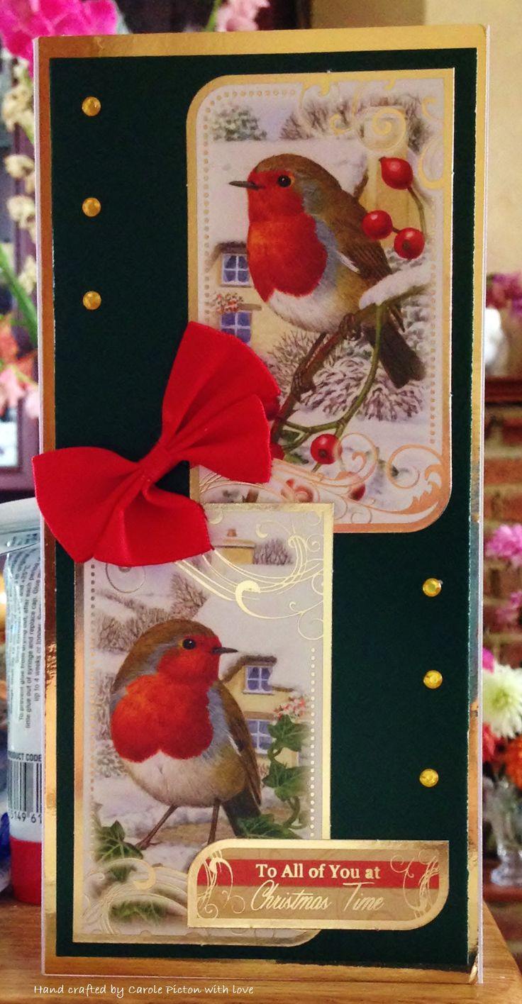 """Christmas Card (152) - DL Card, Hunkydory """"Little Robin Redbreast"""" with added bow and gems"""