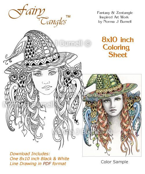 miss witch printable fairy tangles coloring book pages coloring sheets by norma j burnell halloween coloring sheets witch and owl to color