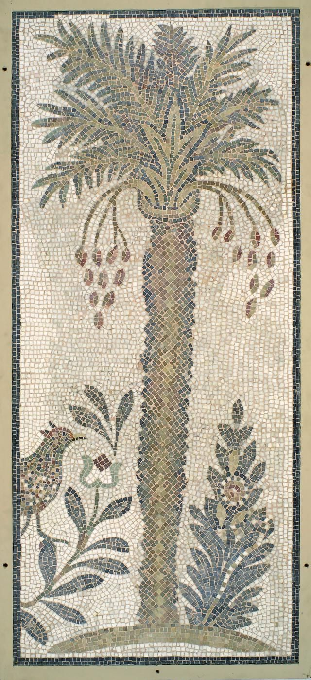 Mosaic of date palm tree with flowers and pheasant - Right end of lower center, pavement of main sanctuary (4th.5th cent.AD), Synagogue of Hammam Lif, Tunisia - at Brooklyn Museum