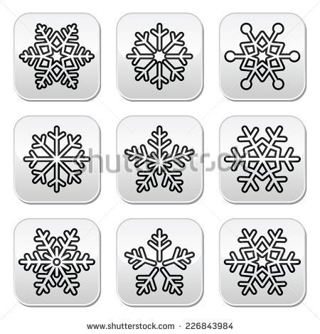 Snowflakes, winter black and white buttons set by RedKoala #Christmas #Xmas
