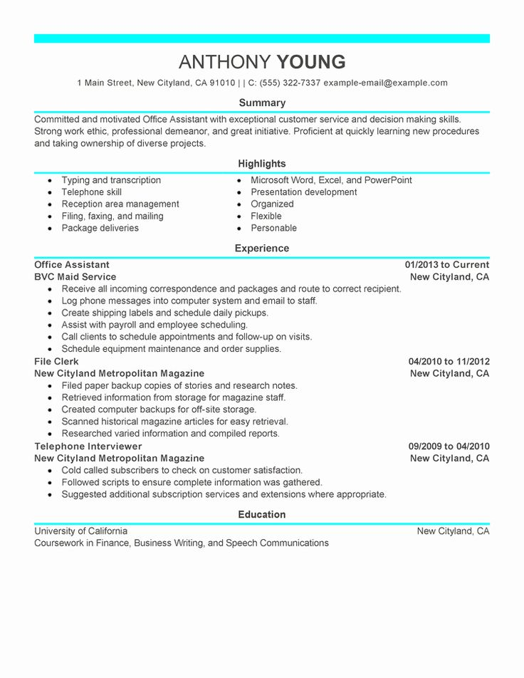 14+ Office assistant resume example ideas in 2021