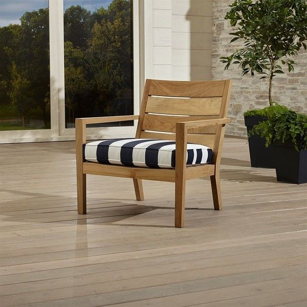 shop regatta lounge chair with sunbrella cushion this teak may be left unfinished to weather to a beautiful silvery grey or use our golden care teak