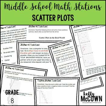 This math station activity is intended to help students understand how to construct and interpret scatter plots for bivariate measurement data to investigate patterns of association between two quantities. Describe patterns such as clustering, outliers, positive or negative association, linear association, and nonlinear association.