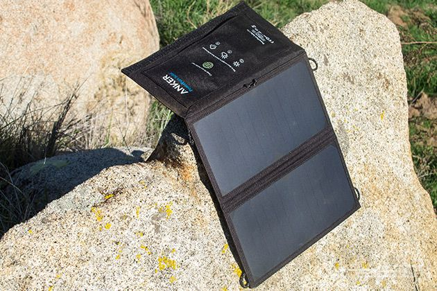 The Best Portable Solar Battery Charger | Weighing just 12.5 ounces and measuring 18 by 11 inches unfolded, the Anker PowerPort Solar Lite can charge tablets slowly and most phones at nearly full speed.