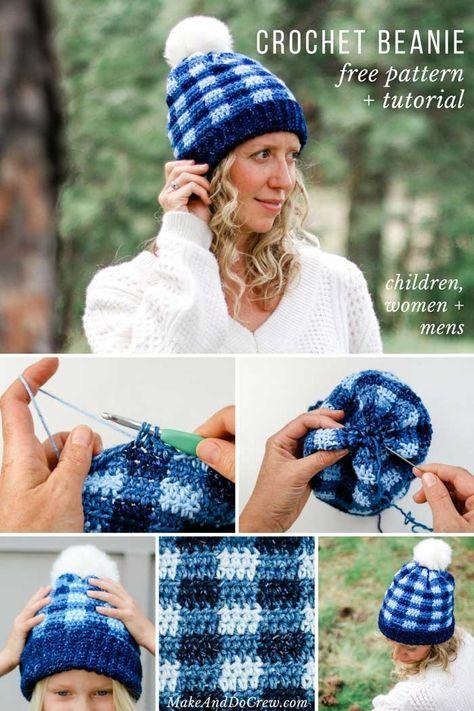 Padrão de chapéu xadrez grátis de crochê para crianças, mulheres + homens