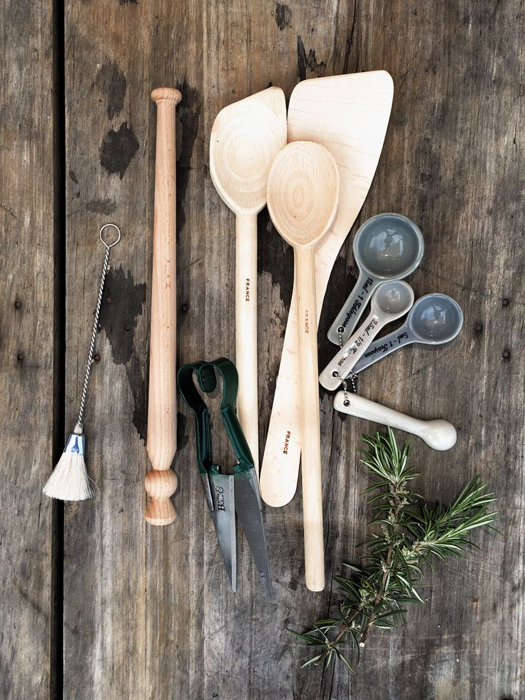 Kitchen brushware, timber and ceramic utensils, and garden shears from our store.