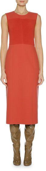 Agnona Sleeveless Double Stretch-Knit Dress, Red